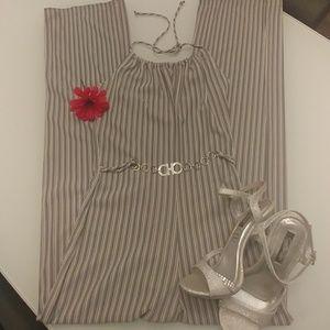 Grey/black/white pinstriped halter jumpsuit